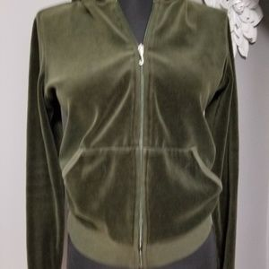 Juicy Couture Olive Green Velour  Hoodie Size L